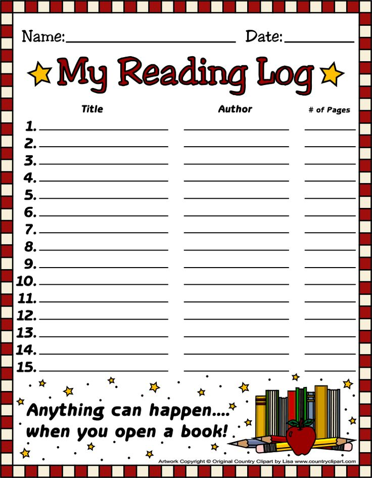 ~*~ FREE Reading Log Templates from Country Clipart By Lisa Website's Free Printables ~*~   Find a variety of cutely decorated Reading Logs, as well as a variety of other free **GREAT** printables & graphics sets - bookmarks, recipe cards, etc. :)