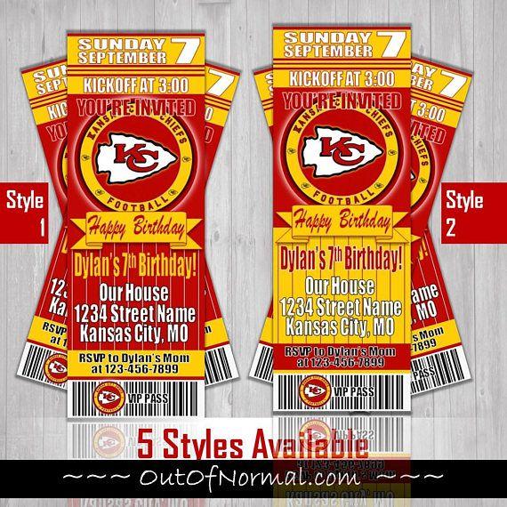 Kansas City Chiefs KC Themed Birthday Invitation Tickets