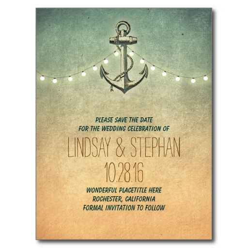 Vintage anchor nautical save the date postcards.  $0.98