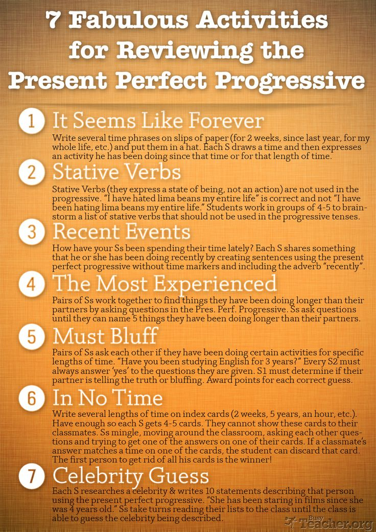7 Fabulous Activities to Teach or Review the Present Perfect Progressive