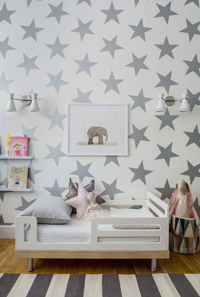 Lucky Star Wallpaper from Sissy + Marley - This metallic neutral chic, fun and so on-trend!Decor, Nurseries, For Kids, Toddlers Beds, Kids Room, Stars Wall, Kidsroom, Kid Rooms, Baby