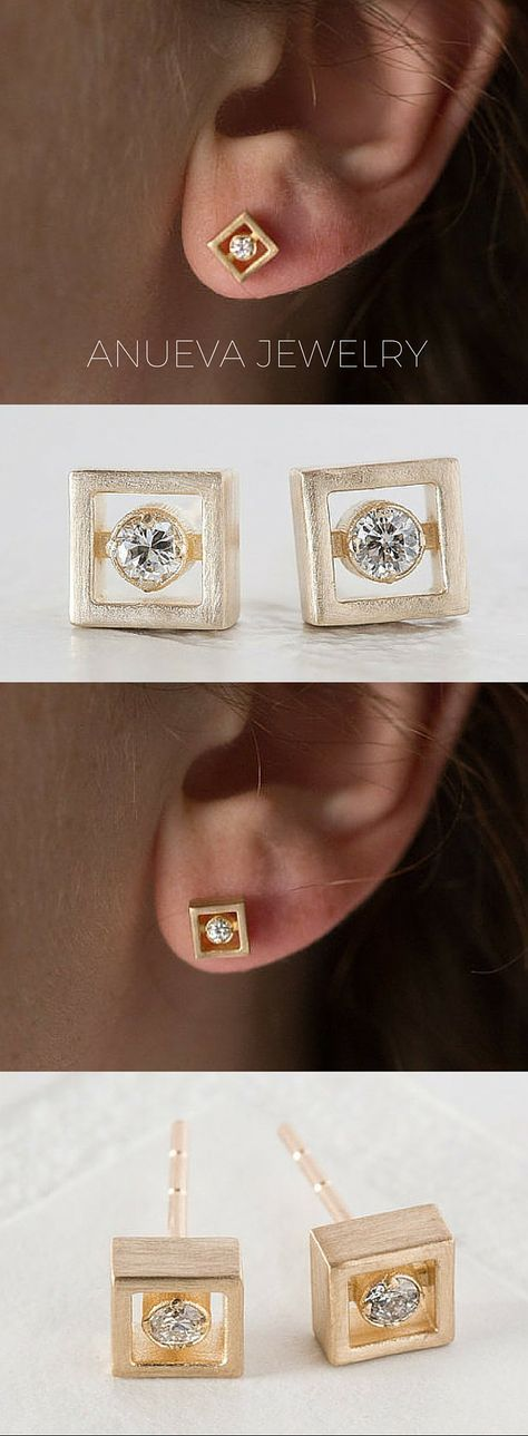 Brushed square gold diamond earrings using recycled diamonds by Anueva Jewelry on Etsy.