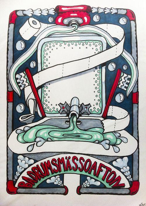 "LL7. ""Badrumsmässoafton"", Leolyxxx. Original artwork. Markers on paper. Size A3.  www.leolyxxx.com"