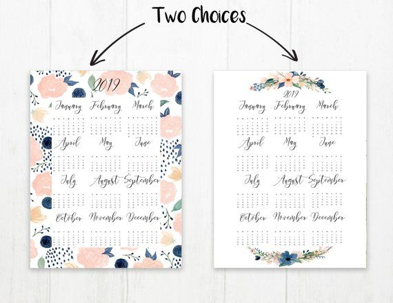 2019 Year at a Glance Calendar Year Printable Planner Yearly Etsy