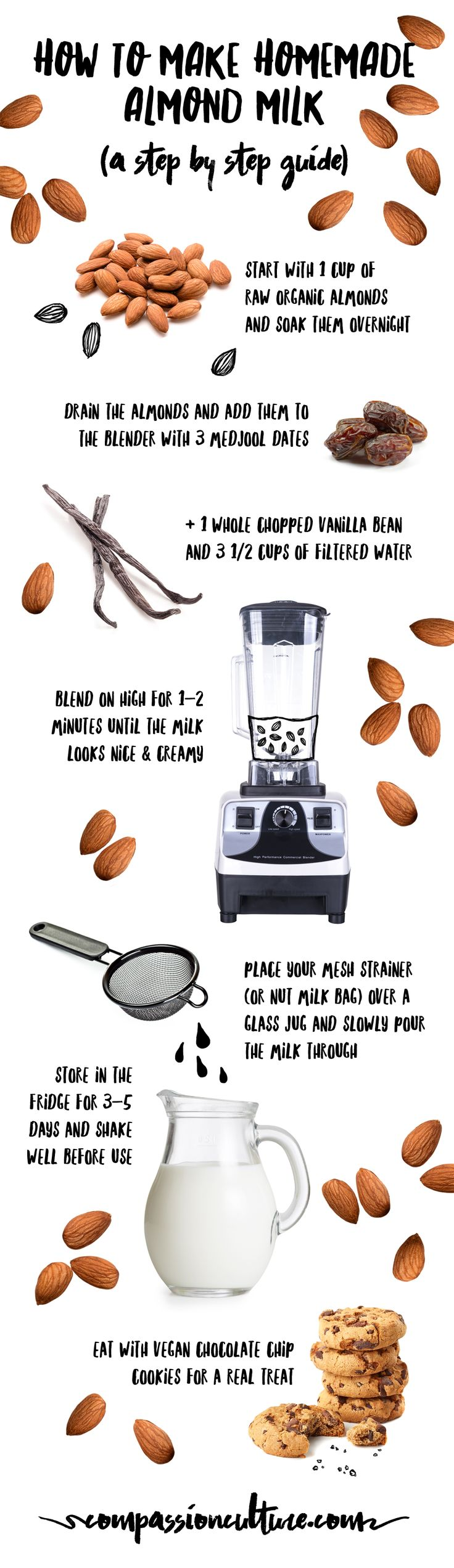 DIY How to make homemade almond milk easy step by step guide #plantbased #diet #crueltyfree milk