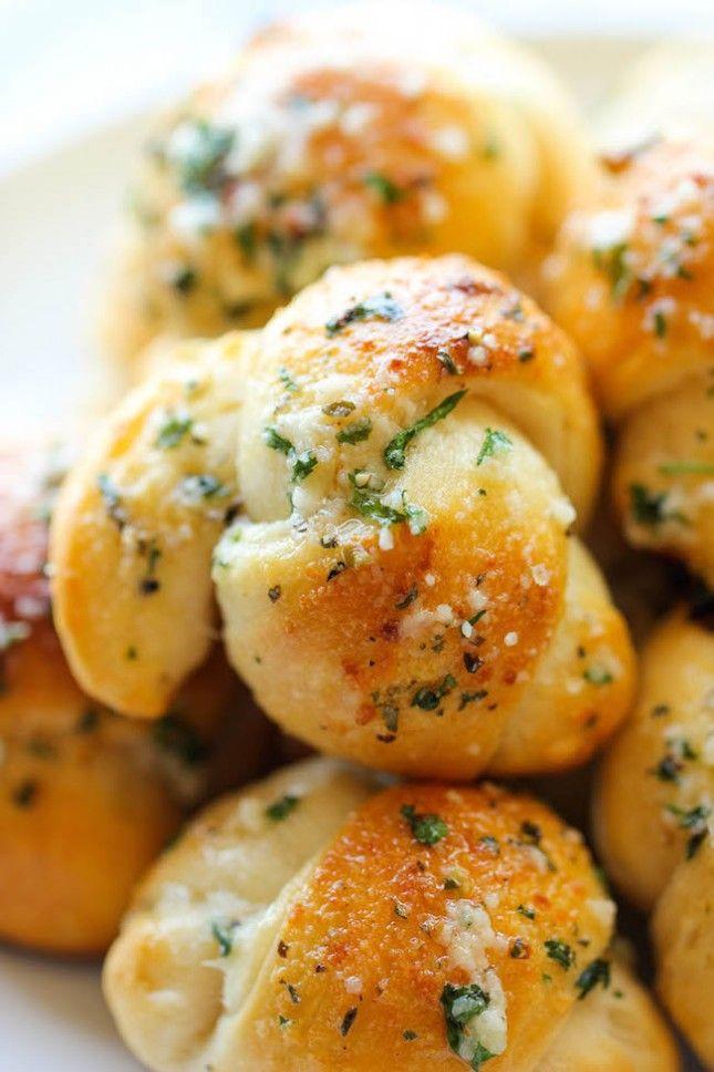 Easy Garlic Parmesan Knots via http://damndelicious.net/2014/04/14/easy-garlic-parmesan-knots/