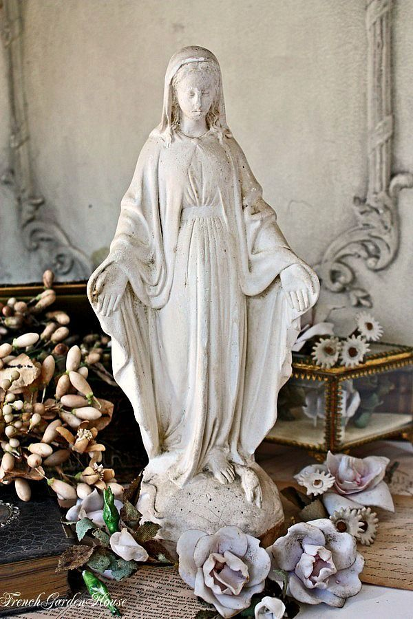 Antique French Large Cream Patina Madonna Statue
