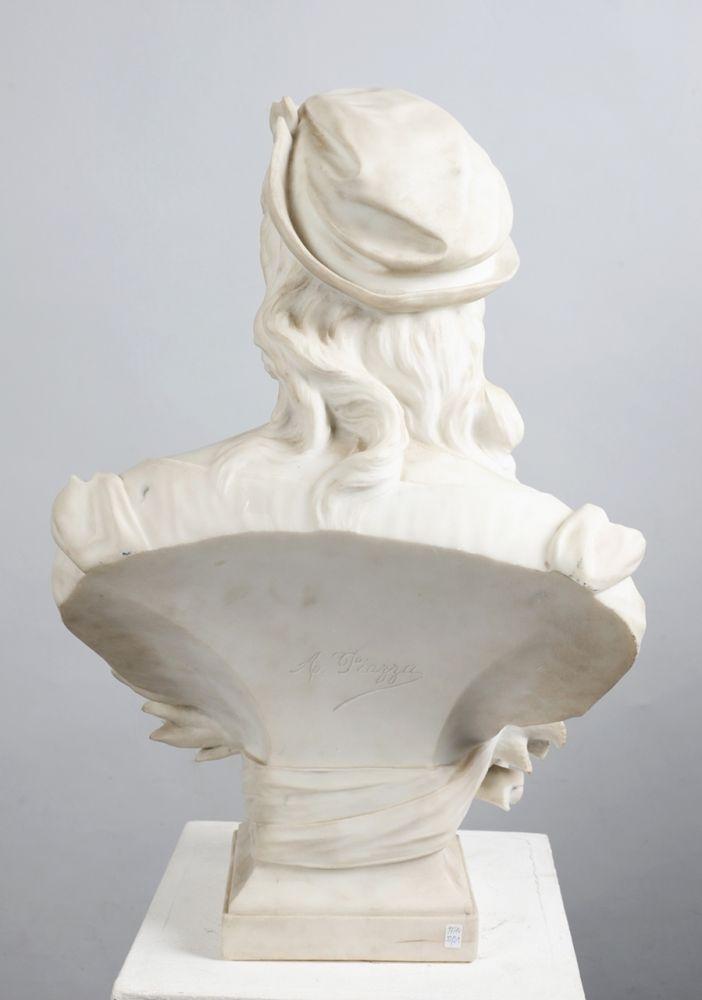 piazza antonio italien 19 20 jh wei er carrara marmor b ste einer jungen frau mit barett. Black Bedroom Furniture Sets. Home Design Ideas