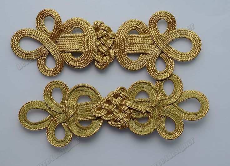 5 Golden Belt geometric Braid Sewing Chinese Frog Closure Knot Fastener Buttons | eBay