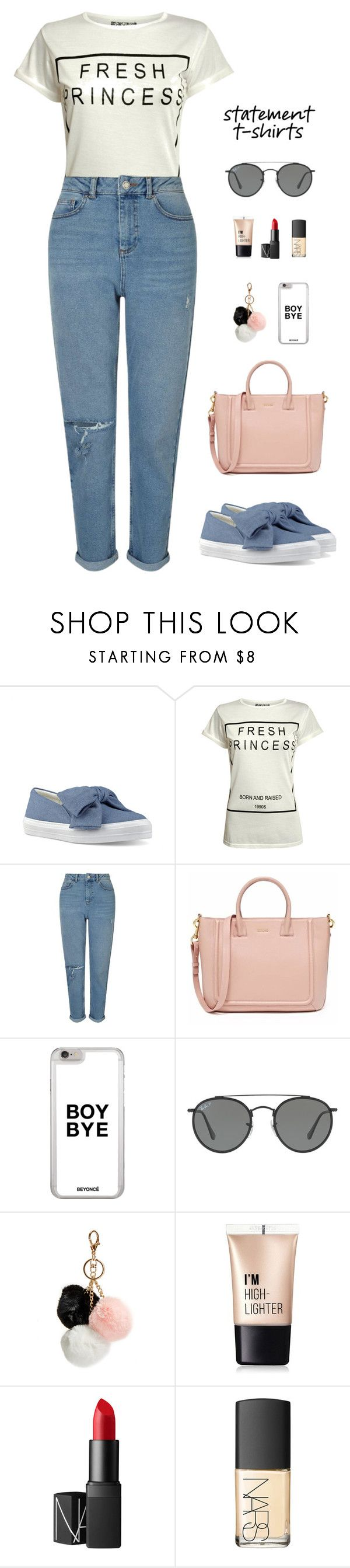 """""""Say It With A T-Shirt"""" by elliejd ❤ liked on Polyvore featuring Nine West, Pilot, Miss Selfridge, Ray-Ban, GUESS, Charlotte Russe, NARS Cosmetics and slogantshirts"""