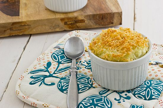 Creamy truffled mashed potatoes are topped with toasted panko and Parmesan cheese in this vegetarian Truffled Mashed Potato Gratin recipe.
