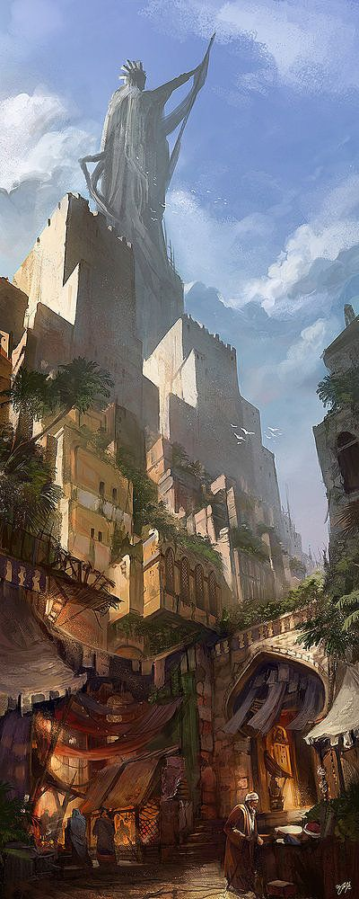 By Flavio Bolla Another piece set in a fictional place but with borrowed influences from other cultures resulting in a piece reminsicent of ancient Babylon or a Middle Eastern city of the distant past.