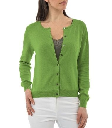 Green Womens Cotton Cardigan