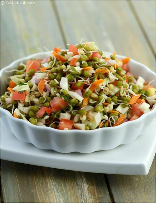 Sprouted Moong Salad recipe | by Tarla Dalal | Tarladalal.com | #1350