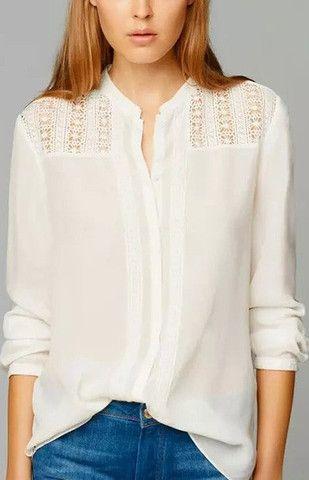 Floral Lace White Blouse
