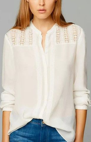 Specifications: Decoration:Lace Clothing Length:Regular Pattern Type:Solid Sleeve Style:Regular Fabric Type:Broadcloth Material:Cotton Collar:Stand Sleeve Length:Full Size Bust Shoulder Sleeve Length