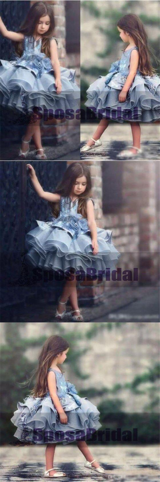 Blue Short Cute Best Sale Soft New Unique Flower Girl Dresses, Popular Little Girl Dresses, FG100
