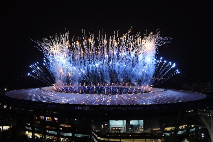 Fireworks at the Maracana:    A dazzling display of fireworks at the Maracana stadium.