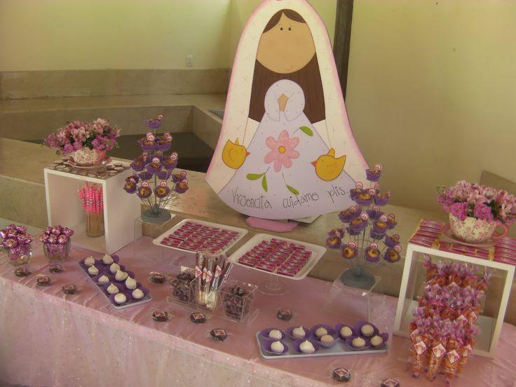 Bautizo o primera comuni n ni a mesa de dulces pinterest for Mesa de dulces para bautizo de nina