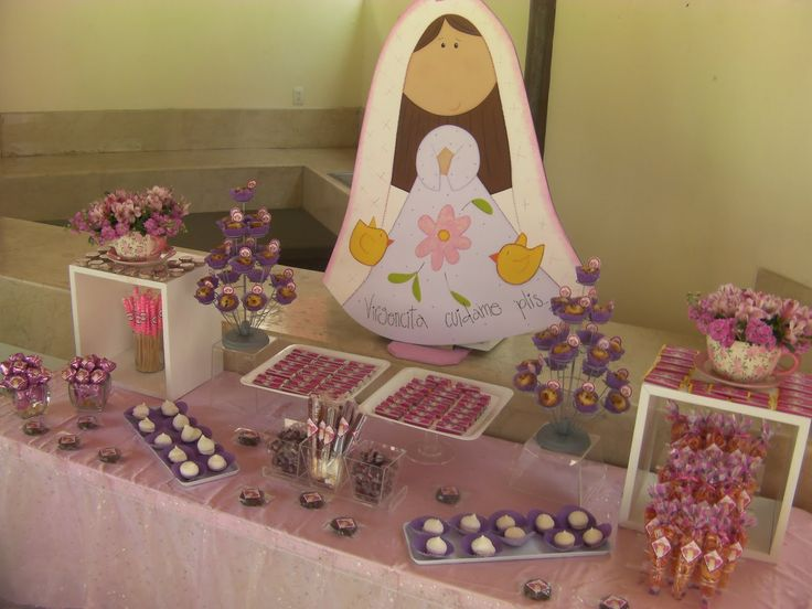 Bautizo o primera comuni n ni a mesa de dulces pinterest - Mesas para ninas ...