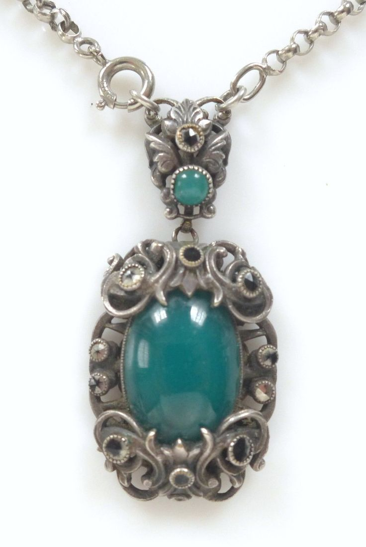Jewelry amp watches gt fashion jewelry gt body jewelry gt body piercing - Antique Ornate Sterling Silver Green Celluloid Pendant Art Nouveau Necklace For Sale Cad 235 78