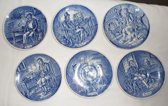Vintage Set of 6 Wedgewood Tunstall Ltd 4 Inch Coaster by BYGONERA