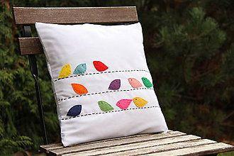 Úžitkový textil - Vankúš vtáčiky - 6148294_