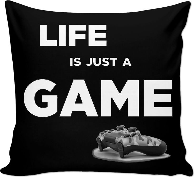 Life is just a game! Gamer black throw pillow design, geek couch pillow, camo PS gamepad - for more art and design be sure to visit www.casemiroarts.com, item printed by RageOn at www.rageon.com/a/users/casemiroarts - also available at www.casemiroarts.com This product is hand made and made on-demand. Expect delivery to US in aprox. 11-20 business days (international 14-30 business days). #bedroom #pillowcase #cushion #throw #pillows #bedding #decor