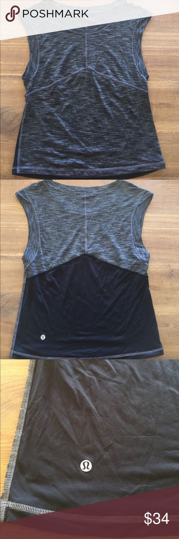 """PRICE DROP‼️ Lululemon Tee! (Only worn 2 times!) Lululemon OUT OF STOCK """"Get Sweat Tee""""Tank! Heathered gray tank! SWEAT-Wicking Luon fabric and Mesh fabric panels to keep air flowing, keeping you cool. Loose fit, hip length. lululemon athletica Tops Tees - Short Sleeve"""