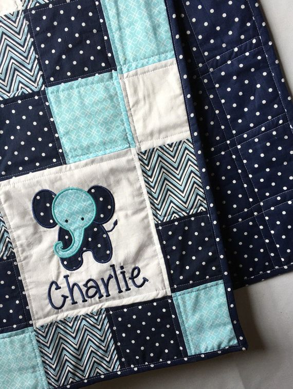 Elephant Baby Quilt with appliqué and name. by HushabyeStrBoutique