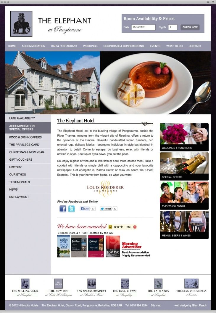 Hillbrooke Hotels - a small chain of hotels in the UK. They needed a new website that they could update easily themselves and one that showed the quirky style of the hotels.