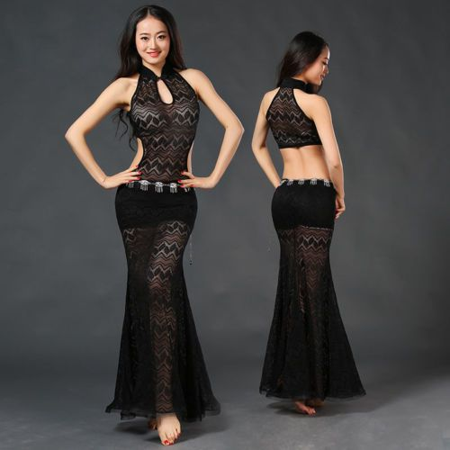 New-2017-Women-Sexy-Lace-Belly-Dance-Costume-Stage-Club-Long-Dress-Skirt