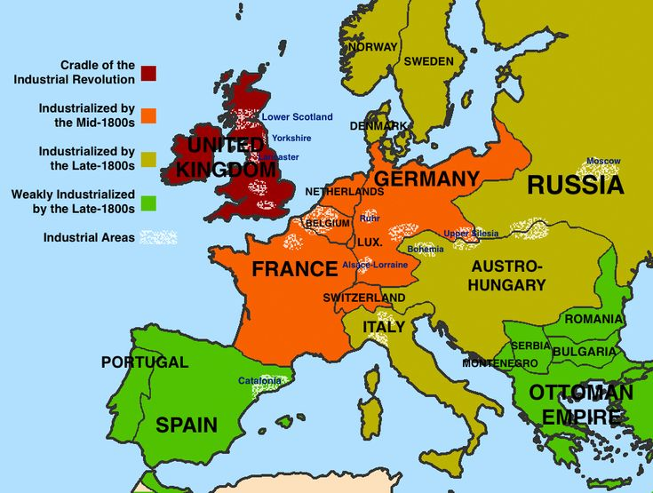 Map showing the spread of the industrial revolution in Europe.