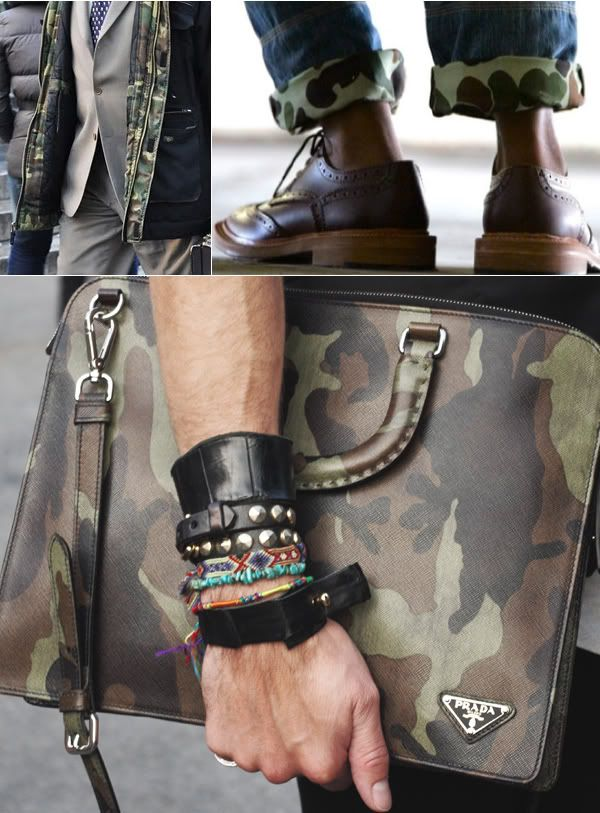 street style || men's accessories || camo || rap your wrist, knot your tie, and lace up your kicks