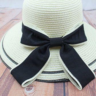 Women Girls Straw Floppy Black Bowknot Cotton Hat Summer Beach Sunshade Cap at Banggood