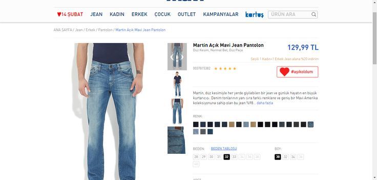 Martin Açık Mavi Jean Pantolon - Pantolon - Erkek - Jean - Mavi