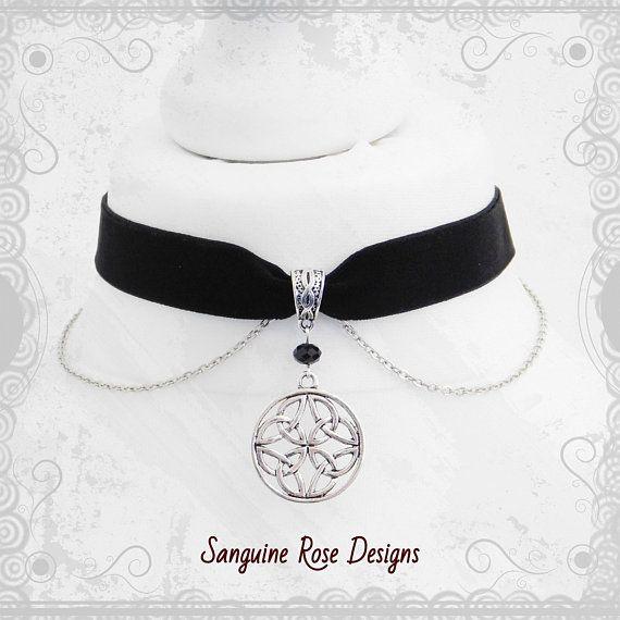 Dark Red Velvet Choker Silver Rose Choker Necklace Gothic Pagan Choker,