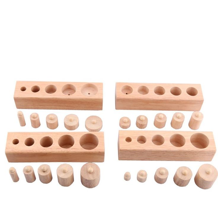 Newest Upgraded ABCD Cylinder Blocks 4pcs/Lot Children Wood Montessori teching aids Educational Wooden Baby Toy