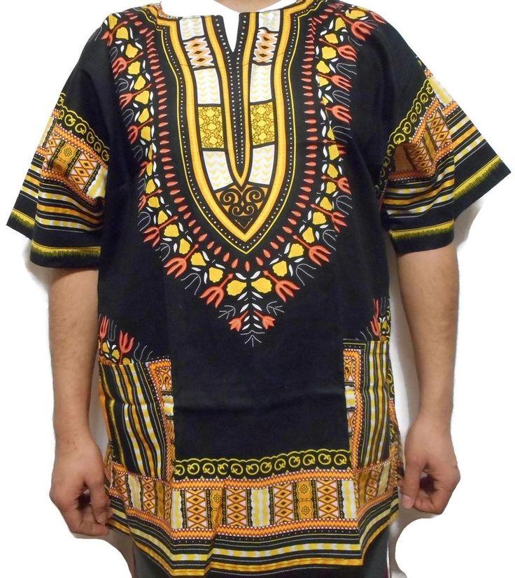 African Vintage Costume Boohoo Blouse Men Dashiki Shirt Summer Beach Top OneSize #Decoraapparel #Dashiki