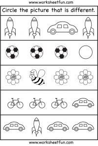 circle the picture that is different free printable preschool and kindergarten worksheets - Free Printable Worksheets For Children