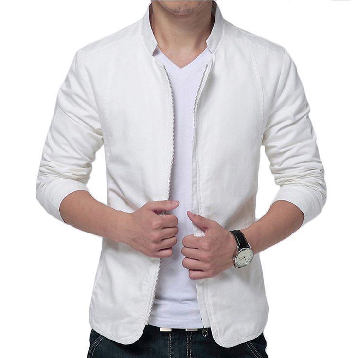 Marque blanc veste hommes 2016 design de mode mens slim fit coupe vent veste casual l gant - Blazer blanc homme ...