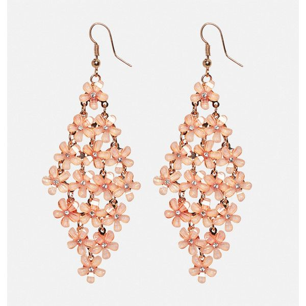 Avenue Floral Chandelier Earrings ($10) ❤ liked on Polyvore featuring jewelry, earrings, coral, plus size, gold tone chandelier earrings, fake earrings, flower jewellery, rhinestone chandelier earrings and imitation jewelry