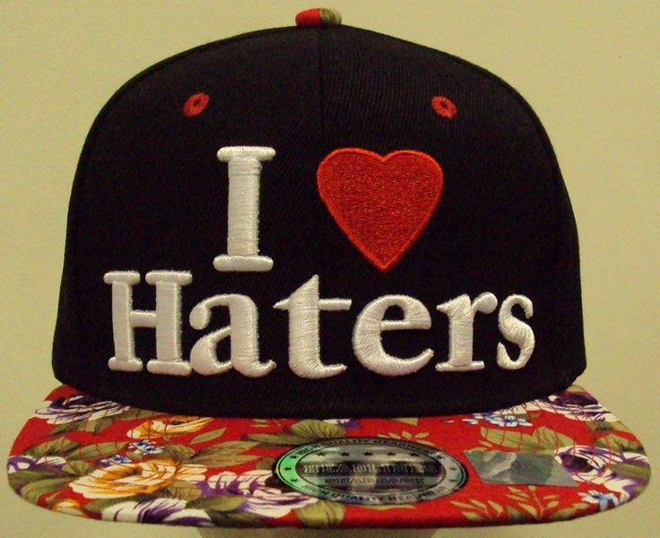 I LOVE HATERS CAP HAT WITH SNAPBACK. Snapback cap hat. One size fits most/all with adjustable plastic snapback closure. BLACK color and printed red rose bill. Premium quality hat. ONE TIME CHECK OUT.   eBay!
