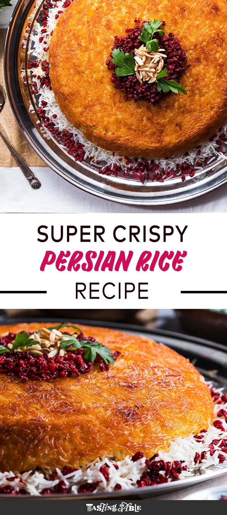 This classic Persian rice dish layers fluffy basmati rice with yogurt-marinated chicken before baking in a cast-iron Dutch oven to form a crispy golden crust.
