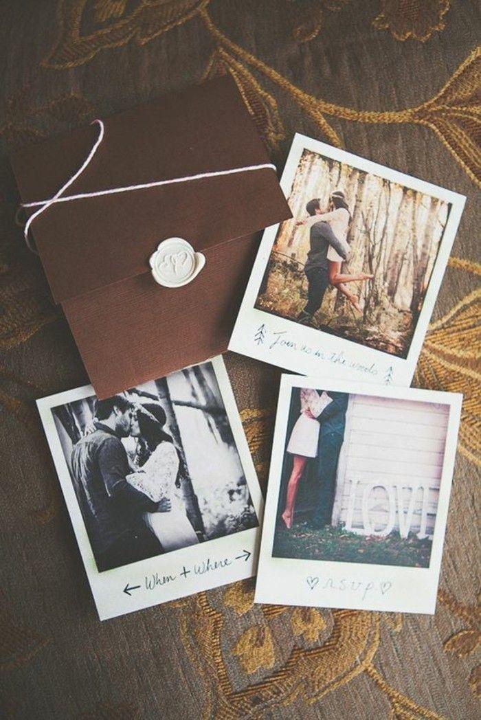 faire-part de mariage original avec photos de jeunes mariés, carte en marron…