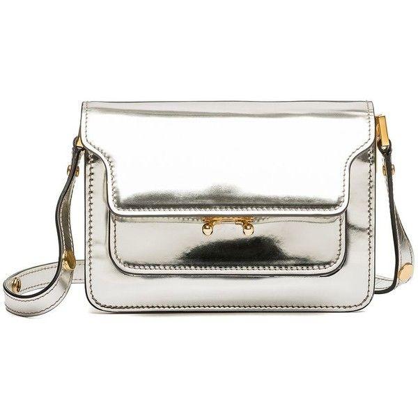 Marni Shoulder Bag (£1,120) ❤ liked on Polyvore featuring bags, handbags, shoulder bags, marni, purses, silver, handbags purses, mini handbags, white purse and shoulder strap handbags
