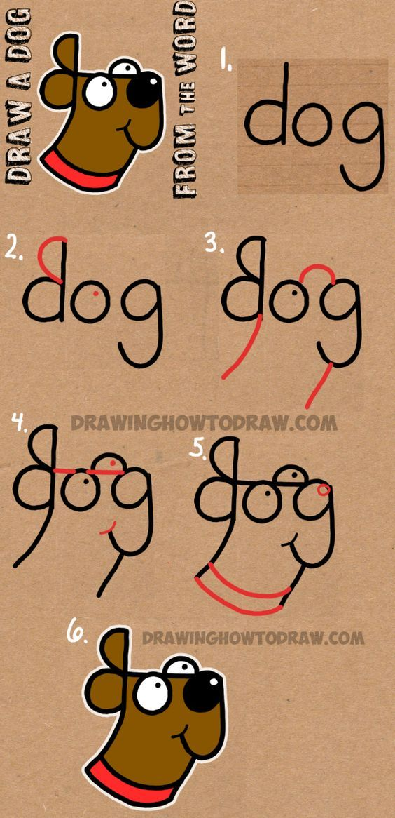 How to Draw a Dog from The Word Dog - Easy Step by Step Drawing Tutorial for Kids: