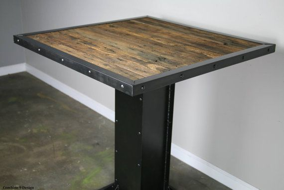 Bistro Dining Table Modern Industrial Design Reclaimed Wood Steel Gr