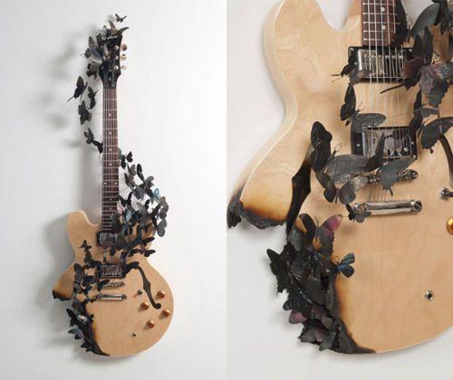 butterflys: Tattoo Ideas, Wall Art, Music Note, Guitar Wall, Guitar Art, A Tattoo, Music Rooms, Guitar Straps, Art Pieces