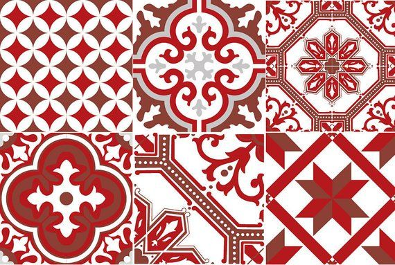Cement Tiles 08 Red Ginette Adhesive Credenza Adhesif Carreaux